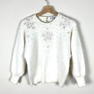 VINTAGE Angora Beaded Floral Sweater - S